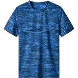 N\P Camiseta casual de verano para hombre con cuello en O para deporte de secado rápido y transpirable