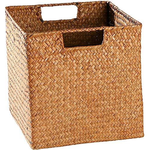 ROKTONG Aufbewahrungskorb Aus ,Regalkörbe,Wicker Basket,Snack Storage Basket Straw Home Handmade Toy Woven Basket Rattan Storage Basket Small Basket Orange Square 25 * 25 * 25Cm