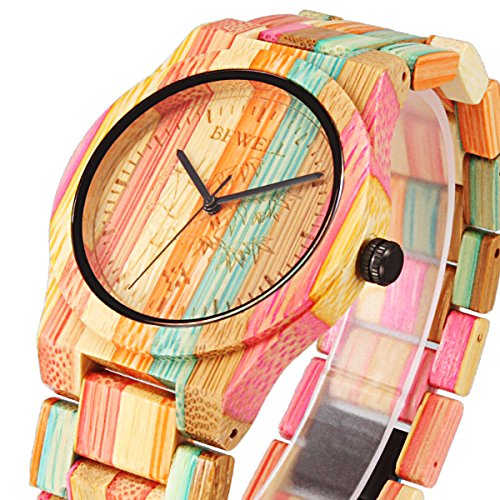 Alienwork Damen Armbanduhr Quarz Mehrfarbig Mit Holz Armband