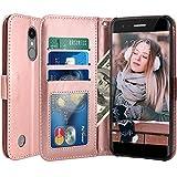Custodia LG K8 2017 / LG K4 2017, LK Case in Pelle PU di Lusso Portafoglio con Fessure di carta Cover Protettiva - Oro rosa
