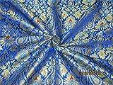 Schwere Seide Brokat Stoff royal blau türkis blau x