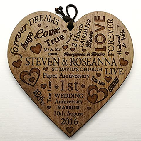 Wedding Anniversary Plaque Personalised Gift Marriage Anniversary Heart Present ~