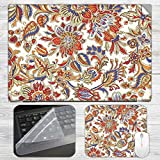 Floral Fabric Laptop Skin + Mousepad + K...