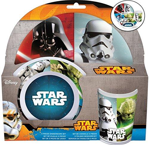 Joy Toy Star Wars Set 3 Pz : Piatto Piano, Fondo E Bicchiere, Melamina, Multicolore, 23.50X7X23 Cm