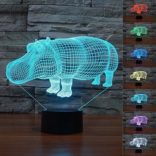 LED Nachtlicht Magical 3D Nilpferd Visualisierung Amazing Optische Täuschung Touch Control Light 7 Farben ändern für Kinderzimmer Home Decoration Best Geschenk