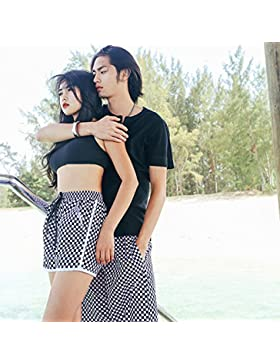 HAIYOUVK Beach Pants,Men'S Shorts,Women'S Couple,Loose,Quick-Drying,Beach Resort,Home Comfort,Shorts,L,Black And...