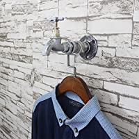 LXSnail Clothing Wrought Iron Hanging Clothes Hook, Water Pipe Retro Coat Rack, Faucet Wall Hanging Clothing Clothes Display Stand Coat racks (Color : B)