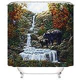 XIAOXINYUAN 3D Digitaldruck Landschaft Tiere Landschaft Polyester Wasserdicht Vorhang mit Haken Für Home Badezimmer Dekoration 150×180Cm