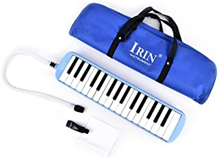 Melodica Instrument 32 Keys Mouthpiece Accessories Audio Out Blue Beginner Bag Case Carrying Designs 2 4 For Kids Beginners Folk Music Hard Keyboard Learning Musical Piano Tube Lovers Gift