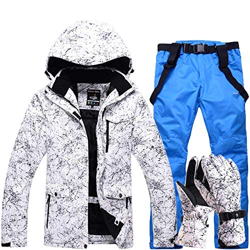 FuweiEncore Hombres, Damas, Parejas Chaquetas de esquí Impresas a Prueba de Viento, a Prueba de Viento Pantalones de esquí Conjunto Chaqueta de Snow Coat (Color : Sapphire, tamaño : XL)