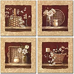 Retro Flores Lienzo abstracto pinturas obras de arte para decoración de la sala de estar, dormitorio, oficina, 12x 12pulgadas, 4piezas,,