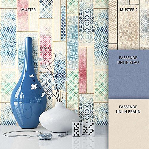 NEWROOM Holztapete Tapete Beige Streifen Fliesen Landhaus Vliestapete Blau Vlies Tapete Vintage inkl. Tapezier Ratgeber