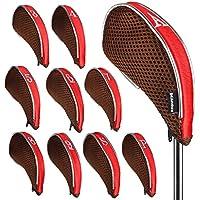 Andux malla funda de palo de golf hierros con cremallera izquierda y diestro 10pcs/set MT/YB001 café/rojo