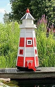 holzdekoladen Leuchtturm rot/weiß Typ 1