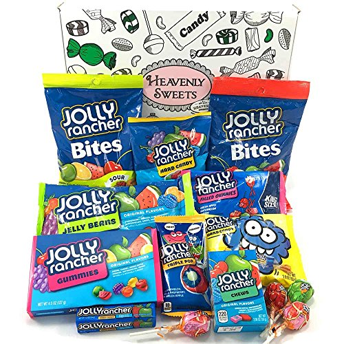 Großer Amerikanische Jolly Rancher Süßigkeiten Geschenkkorb | Hard Candy, Chews, Sour Blue Raspberry, Lollipops | gemischte Naschtüte verschenken | 14 USA Produkte in einer retro Geschenkebox Green Apple Jolly Rancher