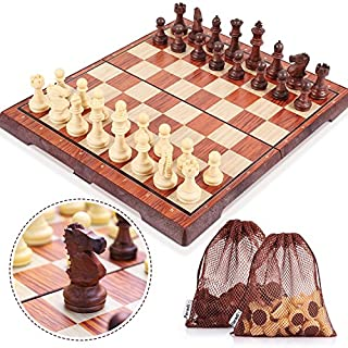 Peradix Chess Set Magnetic Chess Pieces Foldable Chess Board Classic Deluxe Portable Board Game for Kids from 6 years and Adults 35 x 30 Centimeter Made of WPC-Brown
