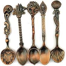 Cuchara, 5 piezas, Cuchara de Cocina, Vintage, de Bronce, tallada,