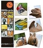 Memo Gedächtnisspiel SUCHE DREI SAFARI von pixelproducts - generationsübergreifender Spielspaß für Tierfreunde, Kinder und Designliebhaber.
