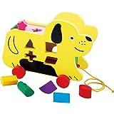 TOWO Perro con Ruedas y Piezas de Madera para clasificar - Juguete de Madera - Juego de Arrastre con Cuerda para bebes y niño