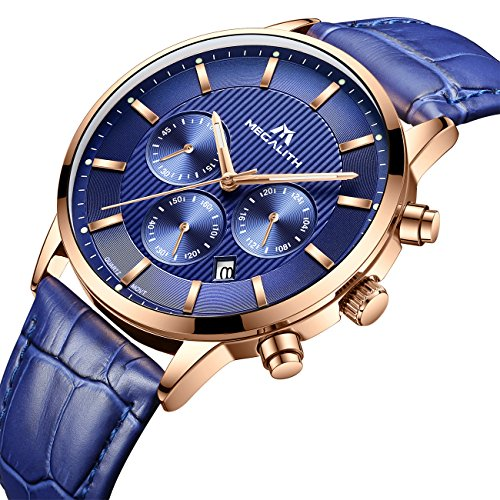 Mens Watches Men Chronograph Waterproof Sport Date Calendar Luxury Analogue Quartz Counts Wrist Watch Gents Fashion Business Casual Dress Multifunction Stopwatch with Blue Dial Genuine Leather Strap