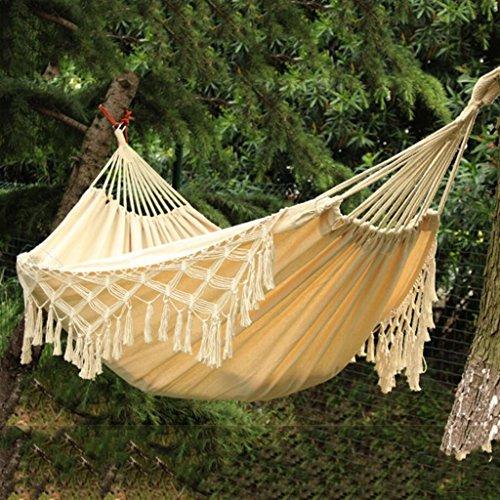 Hamac extérieur hamac intérieur enfants adultes balançoire double maison coton swing (Color : Blanc, Size : 240 * 200 cm)