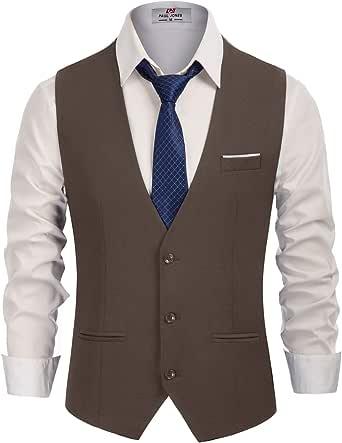 PJ PAUL JONES Men's Slim Fit Business Dress Suit Vests 3 Button Formal Waistcoat, Coffee, Large