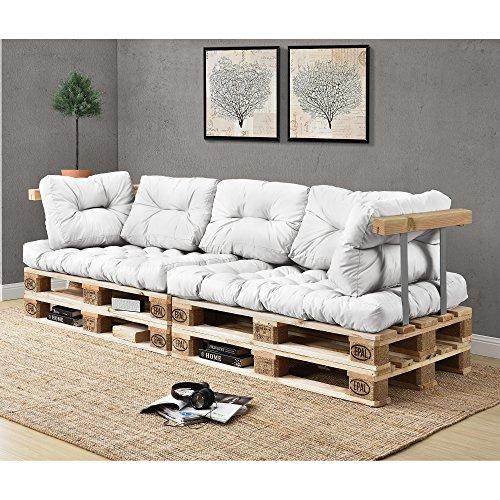 [en.casa] Palettensofa - 3-Sitzer mit Kissen - (weiß) komplettes Set inkl. Arm- und Rückenlehne - 2