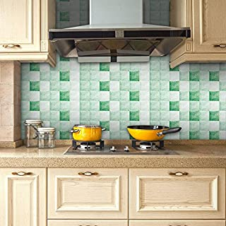 Cinlla Wall Stickers Waterproof Mosaic Stickers Anti-oil for Kitchen Bathroom Living Room Floor - 20 x 500 cm/roll - DIY Peel and Stick Wall Decal - Jade Green Grid