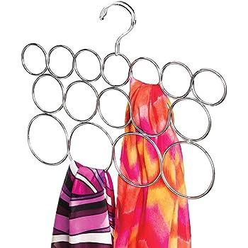 mDesign Porte-écharpe sans accroc, pour foulards, cravates, ceintures, châles, pashminas, accessoires - 16 boucles, Chrome