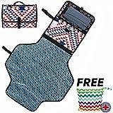 Bebé Cambiador de alfombras portátiles de viaje de bebé pañal Cambiador Pad Bolsa cambiador de pañales estación con bolsillos de almacenamiento para viajes y hogar