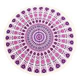 Serviette de Plage, OUTERDO Serviette Plage Mandala Femme Tapisserie Ronde Fleurs Hippie Serviette Plage Yoga Glands Décoratifs Indien Châle de Yoga
