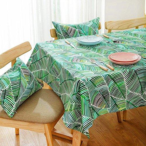 wfljl Nappe Style américain Rural Rectangle Table à Manger Lin et Coton Petite Frais Vert 100 * 160 cm