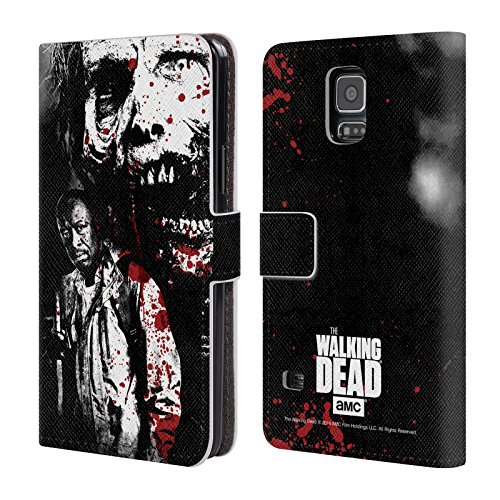 Ufficiale AMC The Walking Dead Morgan E Lurker Sangue Cover a portafoglio in pelle per Samsung Galaxy S5 / S5 Neo