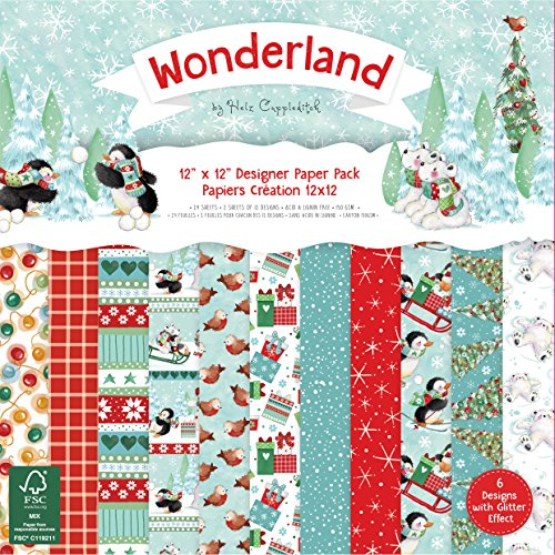 Helz Cuppleditch Wonderland Navidad papel cartulina Pack, multicolor, 30,5x 30,5cm