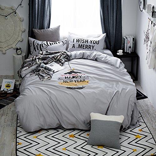 nfach cartoon Baumwolle satin geschliffen Bett vier Doppel Baumwolle Steppdecke Bettwäsche nackt, Doppel-Ei happy-Grau, 1,8 m (6 Fuß) Bett (Ei In Einem Frame)