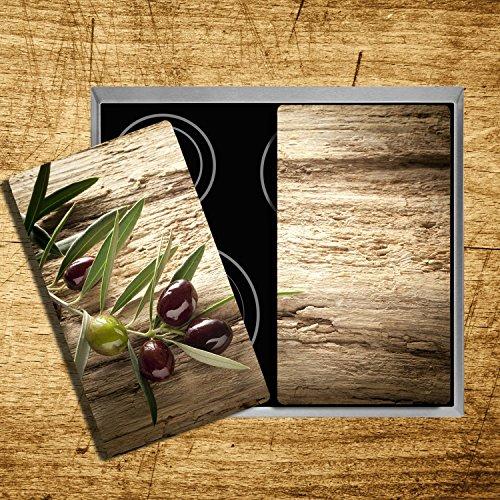 Herdabdeckplatten aus Glas m. Noppen von DekoGlas 2er-Set Herdabdeckung Schneidebrett Spritzschutz Oliven - 5