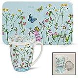 matches21 Frühstücksbrettchen & Teebecher Set 2-tlg. Blumen & Schmetterlinge aus Melamin & Porzellan gefertigt
