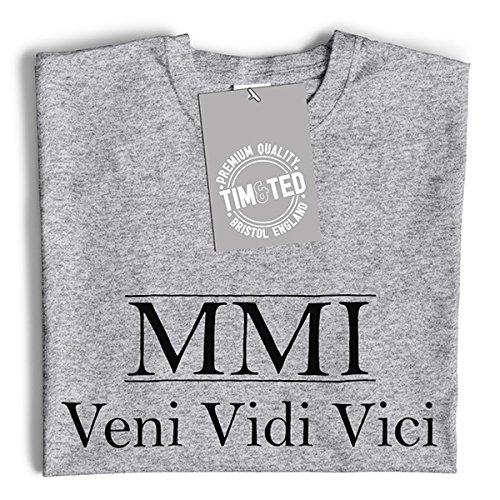 MMI Veni Vidi Vici Geburtsjahr 2001 16. Geburtstags-Geschenk-Geschenk-Andenken In der römischen Zahlen aus Langarmshirt White