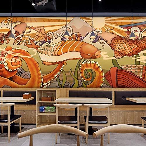 Restaurant wallpaper_ octopus snack sushi rotisserie tapete welle karpfen izakaya restaurant wandverkleidungWallpaper 3D Fototapete einfügen grenze Wandbild Tapete Fototapete Wandbilder-300cm×210cm
