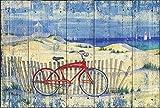 Rahmen-Kunst barella-Immagine - Paul Brent: Rosso Spiaggia INCROCIATORE Foto Tela Bici Spiaggia Dune Sabbia - 65x100