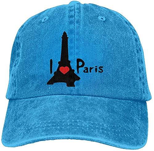 ingshihuainingxiancijies Unisex I Heart Paris Effel Tower Denim Jeanet Baseball Cap Adjustable Outdoor Sports Cap für Männer oder Frauen