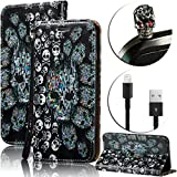 : For iPhone SE Case [Shock-Absorption],Vandot Slim Fit PU Leather Stand Flip Magnetic Wallet Case For iPhone SE 5S 5 3D Relief Pattern Pratical Waterproof Cover-Skulls+Anti Dust Plug+USB Data Line
