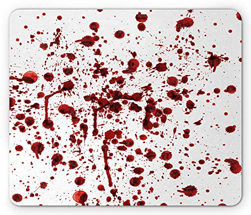 SHAQ Horror Mouse Pad Mauspad, Splashes of Blood Grunge Style Bloodstain Horror Scary Zombie Halloween Themed Print, Standard Size Rectangle Non-Slip Rubber Mousepad, Red (Scary Halloween Zombies)