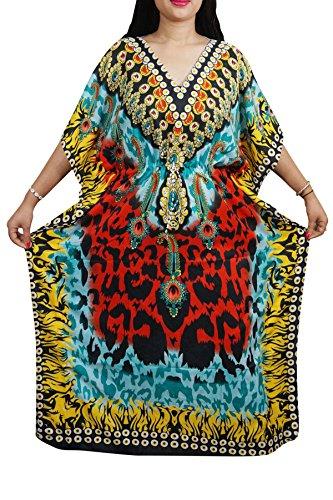 Indiatrendzs Women Kaftans Bohemian Viscose Kaftan Kimono Loose Dress 52\