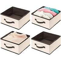 mDesign Box de Rangement en Forme de dé pour vêtements (Lot de 4) – bac de Rangement en Tissu avec poignée – Boite de…