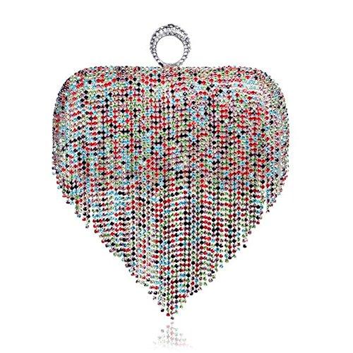 NAOMIIII Womens Diamante Quasten-Abend-Partei-Braut-Abschlussball-Geldbeutel-Handtasche , Colorful (Quaste-abend-geldbeutel)