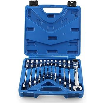 Femor, cassetta degli attrezzi da 12 pezzi / 7 pezzi con chiave inglese, cricchetto e chiavi combinate da 8–19 mm, blu