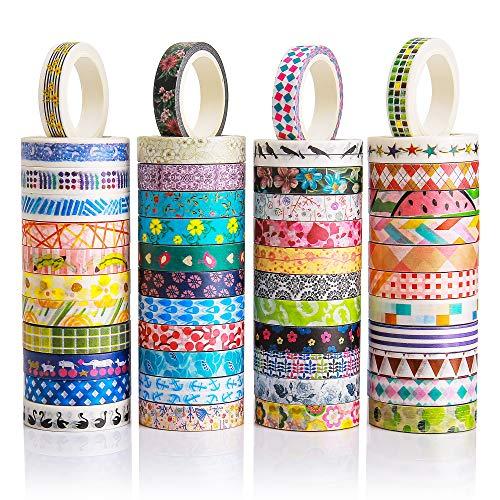 48 Rollen Washi-Tapes-Set - 8 mm breit, buntes Blumen-Design, dekoratives Klebeband für DIY Basteln, Scrapbooking, Geschenkverpackung.