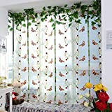 Ouneed Fashion Window Curtain, Pastoral Tulle Window Roman Curtain Embroidered Sheer For Kitchen Living Room The Bedroom Window Screening (A)