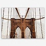 ge Bildet hochwertiges Leinwandbild - Brooklyn Bridge in New York - 70 x 50 cm einteilig | Wanddeko Wandbild Wandbilder Wohnzimmer deko Bild |